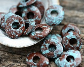 Patinated Cornflake beads, Brown with turquoise, greek Ceramic beads, organic shape, donut, rondelle, washer, 10mm - 20pc - 2769