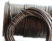 1mm Round Natural Leather cord - Bronze - 10 feet, LC058
