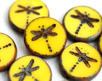4pc Yellow Dragonfly beads, picasso czech glass beads, table cut, round, tablet shape - 17mm - 2540