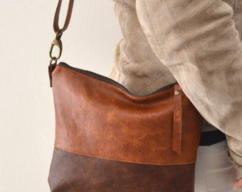 Two tone crossbody bag, Medium shoulder purse, Distressed leather bag purse