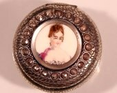 Antique Silver Plate Pill Box Limoges Enamel French Victorian Pill Box
