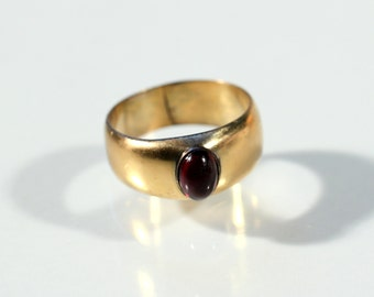 Antique Ring Gold Tone Solitaire Ring Molten Glass Cabochon Ring Mans Ring Victorian French Jewelry Ring Size Approx 9.80 US