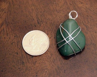 Wire-wrapped Green Stone Pendant