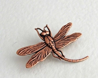 Dragonfly Brooch  .. copper dragonfly brooch, insect brooch, shawl pin, art nouveau brooch