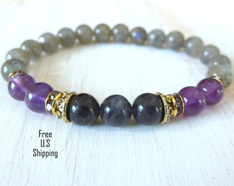 Water Sapphire, Spirituality bracelet, Amethyst, Labradorite, healing bracelet, yoga bracelet, reiki bracelet, iolite bracelet, mala