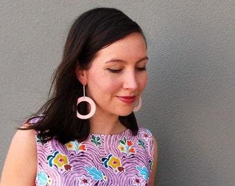 Hoops Earrings -  Bright Ceramic Dangling Earrings with Sterling Silver Earwire