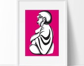 Laughing Buddha poster—custom size print, digital drawing
