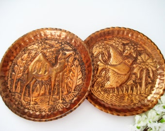 2 Vintage Copper Wall Plates, Handmade, Bird, Camel, Coconut Tree, Fluted Hammered
