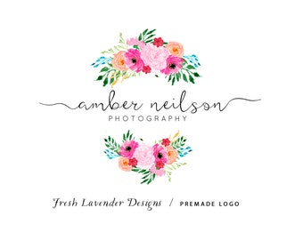 Custom Logo Design Premade Logo Design and Watermark for Photographers and Small Businesses Hand Drawn Watercolor Floral & Hand Written text