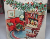 RESERVED 4 D embossed silver gilded Volland 1940's-50's christmas card red couch,rocking chair brick fireplace,stockings holly berry garland