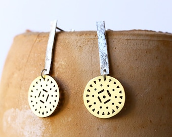 Tribal earrings - silver and brass earrings - circle earrings - dangle earrings