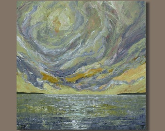 abstract painting, landscape, original painting, canvas art, sunset painting, 24x24, yellow and gray, ocean painting, seascape, storm clouds