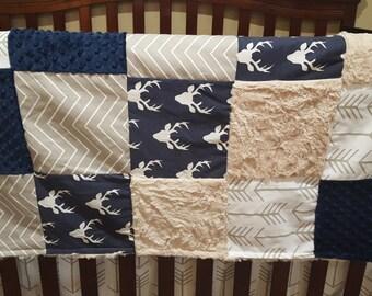 Baby Blanket - Navy Buck, Ecru Chevron, White Tan Arrow, Ivory Crushed Minky, and Navy Minky Patchwork Baby Blanket