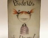 OOAK, Pigtails of Doom, birthday gift, sister gift, weird, Halloween, watercolor art, ink, Gift art, resin, button Art,Home Wall Art,