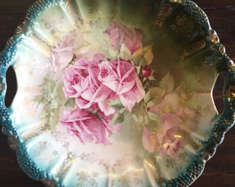 Vintage Bavarian Z.S. & Co. Plate/Tray with Pink Roses and Gold/Green Trim