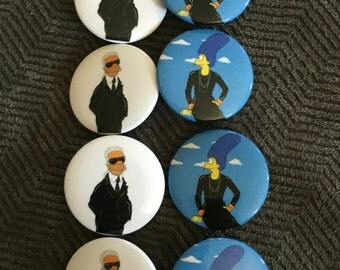High Fashion Coco & Karl Simpsons style pinback button pack