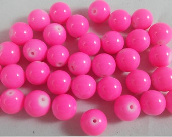 10 Beads - 12mm Hot Pink Beads - Glass Pearls Gumball beads