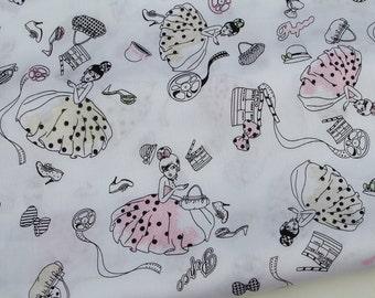 "2280A  - 1 yard Soft Cotton Twill fabric - princess,bag,bow,cat,shoes(pink skirt) (135cmx91.44cm,53""x36"")"