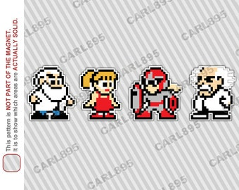 8bit Mega Man NPC Cast - Car/Refrigerator Magnets