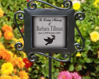 Personalized In Loving Memory Any Message Garden Sign Stake Any Symbol Cross Dove Butterfly