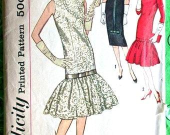 "Simplicity Dress Pattern No 2692 Vintage 1950s Size 16 Bust 36"" Chemise Sleeveless or 3/4 Sleeve Bateau Neckline Bottom Flounce Evening"