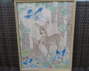 Vintage Forest Scene Needlework Embroidery -  Mid Century Embroidered Deer Woodland