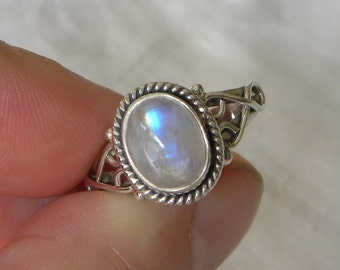 Moonstone Ring Handmade Stunning Blue 10x8mm Gemstone Ring Sterling Silver Ring Size 4 to 9 Take 20% Off Women's Rainbow Moonstone Jewelry