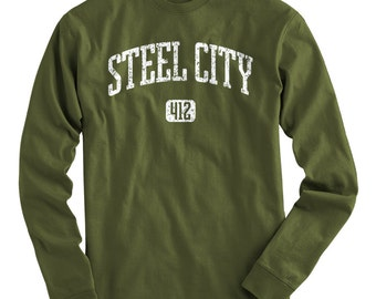 LS Steel City 412 Tee - Long Sleeve Pittsburgh T-shirt - Men and Kids - S M L XL 2x 3x 4x - Pittsburgh Shirt - 4 Colors