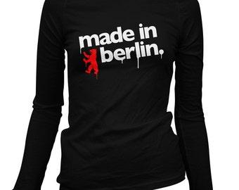 Women's Made in Berlin Long Sleeve Tee - S M L XL 2x - Ladies' Berlin T-shirt, Germany, Deutschland - 3 Colors