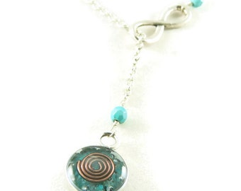 Orgone Energy Infinity Lariat Necklace in Antique Silver Finish with Turquoise Gemstone - Orgone Energy Necklace - Dainty Necklace
