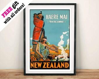 MAORI WELCOME POSTER: Vintage New Zealand Haere Nai Art Print