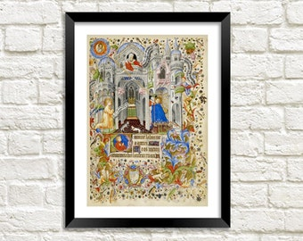 ANNUNCIATION PRINT: Vintage Christian Religious Art Reproduction Wall Hanging (A4 / A3 Size)