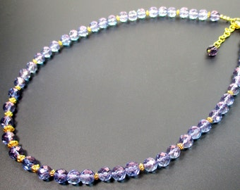 Tanzine Aura Necklace,Metaphysical Necklace,Quartz Aura Necklace,Blue Violet Aura Quartz, Vermeil,Gold Over Sterling Silver Spacer Beads