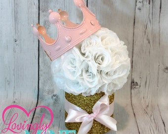 Princess Party Centerpiece, Perfect for Any Event - Baby Pink, White & Glitter Gold - White Rose Pomander, Baby Shower, Princess Party