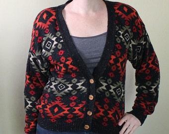 Vintage 90's Cardigan Sweater - Grunge - Hipster - Navajo Print - South Western Style - Medium