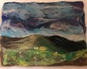 RESERVED FOR SIMON! Twilight Night Above The Hills. Original felt art