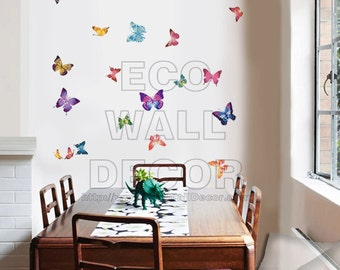 PEEL and STICK Removable Vinyl Wall Sticker Mural Decal Art - Colorful Butterflies Flying
