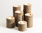 Tree Branch Candle Holders Set of 6- Rustic Wedding Centerpiece, Wood Candle Holders, Tree Slice, Woodland Candle Holders