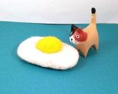 Fried Egg Catnip Cat Toy - Needle Felted Wool
