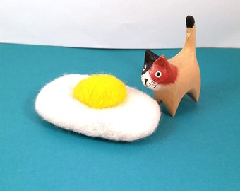 Fried Egg Catnip Cat Toy - Needle Felted Wool
