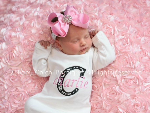 Newborn girl gown Infant gown Baby girl gown Monogrammed gown Personalized gown Take home outfit Damask outfit