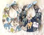 Woof Woof and Elephant Playtime  -  Baby Boy Tie Bib Set with cotton + dot minky