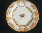 H and O Co. china bread & butter plates, floral dinnerware, 11 unique vintage china plates