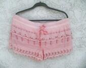 Crochet shorts, size US 10/12, Festival shorts, hippie shorts, comfy pink drawstring shorts, embellished shorts, summer beach shorts