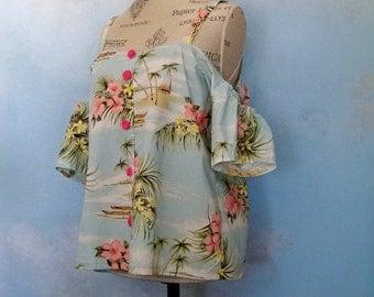Off shoulder top, Hawaiian shirt, peasant blouse summer festival blouse, bohemian, boho chic, cold shoulder, gypsy top, floral cold shoulder