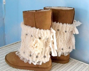 Boot cuffs, faux fur  boot covers, accessories, boot toppers,   Bohemian boot wraps, Gypsy chic boot  ankle wraps, winter boot spats