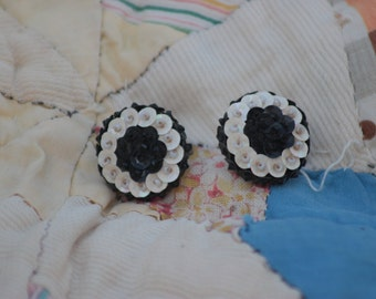 vintage black and white sequin screw back earrings