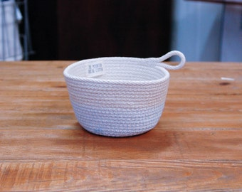"Coiled Rope Basket - 7"" Bowl - Nautical Home Decor & Storage Basket"