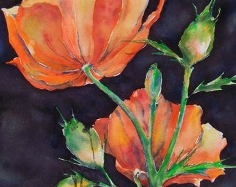Poppy Original Watercolor DayGlow Painting
