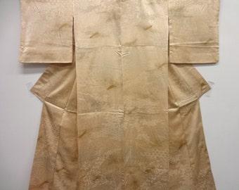 Light Gold Silk Kimono with Japanese Boat design
